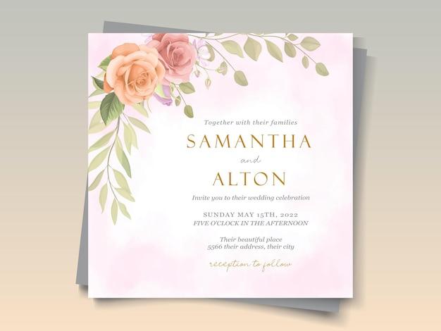 エレガントな柔らかくカラフルな花の結婚式の招待カード