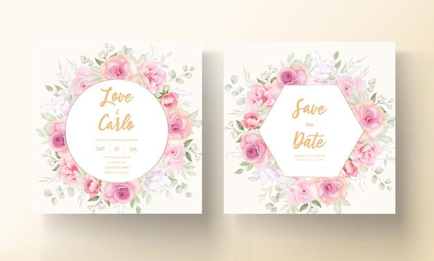 Элегантный мягкий цветочный дизайн свадебного приглашения