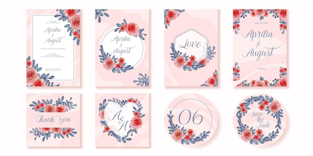 Elegant soft floral wedding invitation card template
