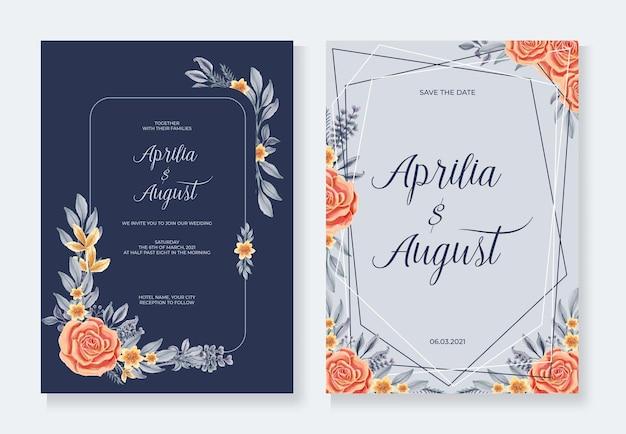 エレガントな柔らかい花の結婚式の招待カードのテンプレート
