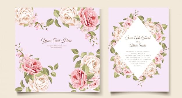 우아한 부드러운 꽃 결혼식 초대 카드 템플릿