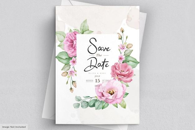 Элегантный мягкий цветочный шаблон свадебного приглашения