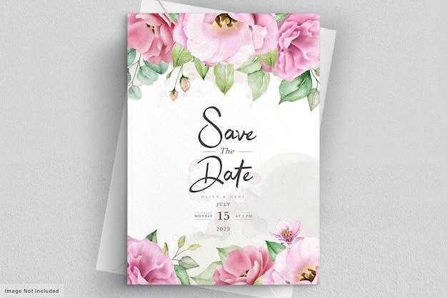 우아한 부드러운 꽃 결혼식 초대 카드 서식 파일