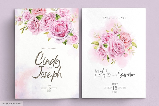 Elegant soft pink watercolor roses invitation card set