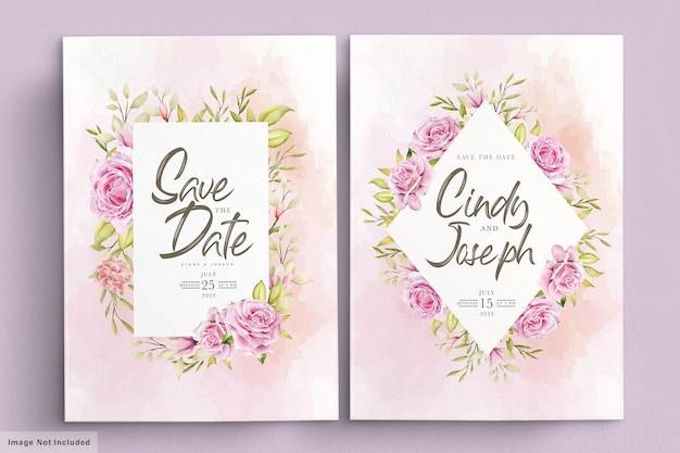 우아한 부드러운 핑크 수채화 장미 초대 카드 세트