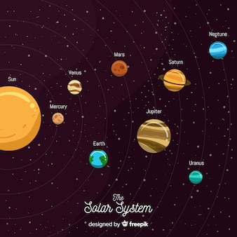 Elegant solar system composition with flat design
