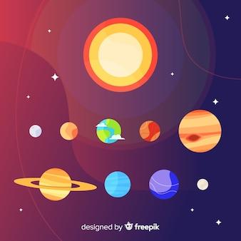 Elegant solar system composition with flat design