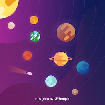Элегантная композиция солнечной системы с плоской конструкцией