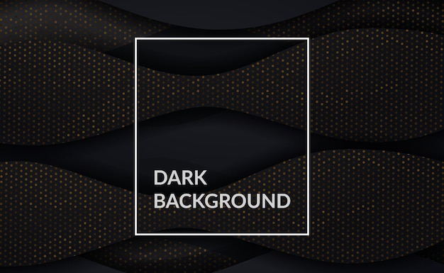 곡선 요소가있는 골드 도트 디테일이있는 우아하고 세련되고 고급스러운 짙은 검정색 배경