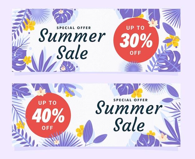 Элегантное специальное предложение летняя распродажа баннер шаблон с фиолетовым листом