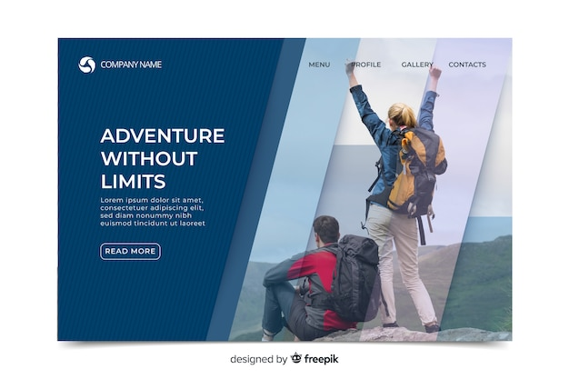 Elegant sport landing page with photo