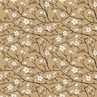 Elegant spring vintage seamless pattern over brown background