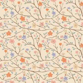 ベージュの背景の上にエレガントな春のヴィンテージシームレスパターン
