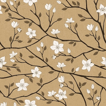 茶色の背景の上のエレガントな春のヴィンテージシームレスパターン