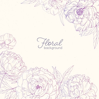 Elegant square floral backdrop decorated with peonies hand drawn with pink contour lines on light background.