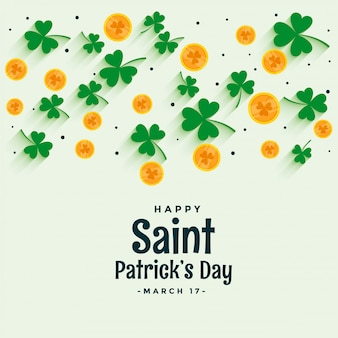 Elegant st patricks design with coin and clover leaves