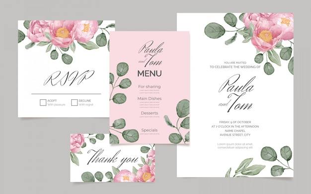 Elegant stationery set with watercolor flowers