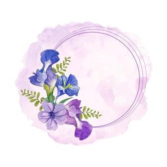 エレガントなスタイルの水彩画の青と紫の花のフレーム