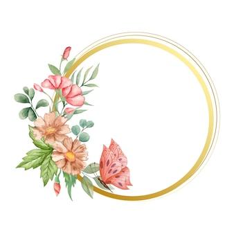 植物の装飾が施されたエレガントなスタイルの水彩花フレーム
