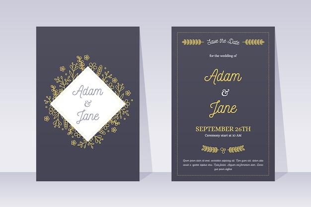 Шаблон свадебного приглашения в элегантном стиле
