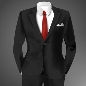 Элегантный костюм черного цвета с галстуком и белой рубашкой
