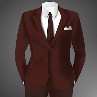 Элегантный костюм коричневого цвета с галстуком и белой рубашкой