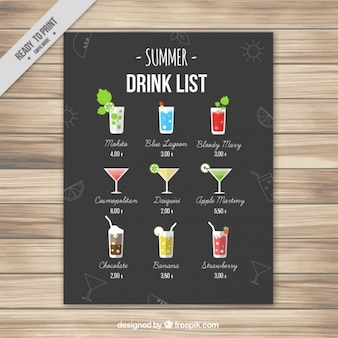 Elegant summer drink list