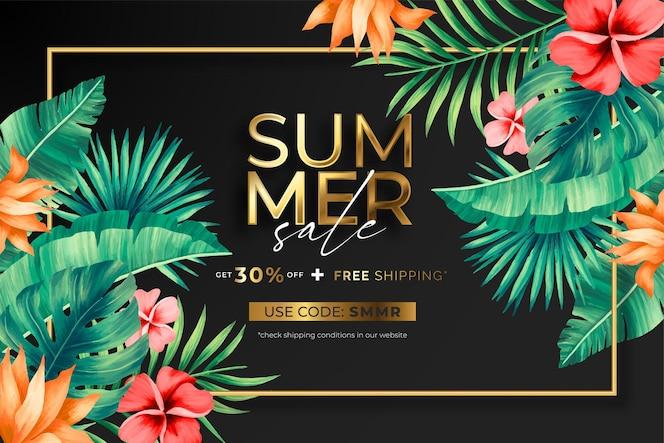 Elegante banner di saldi estivi con fiori e foglie tropicali