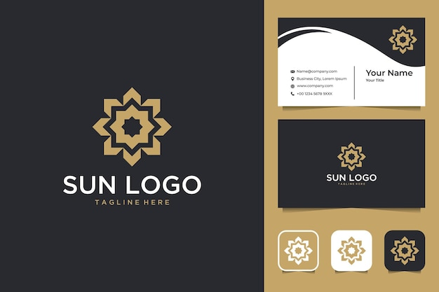 エレガントな太陽の幾何学のロゴのデザインと名刺