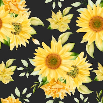 Elegant sunflowers seamless pattern