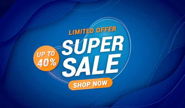 Elegant super sale background with abstract fluid shapes