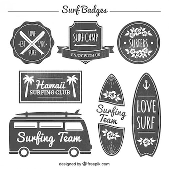 Elegant surf badge set