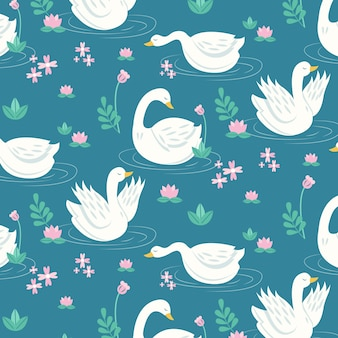 Elegant swan pattern collection theme
