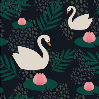 Elegant swan pattern concept