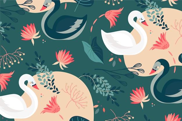 Elegant swan pattern theme
