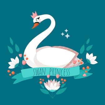 Elegant swan princess with crown