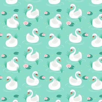 Elegant swan seamless pattern