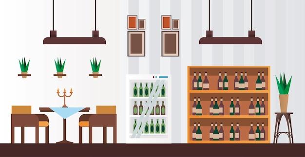 Элегантный стол и стулья с винными бутылками в стеллажах для мебели в ресторане