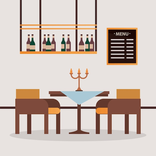 Elegant table and chairs with chandelier restaurant forniture scene