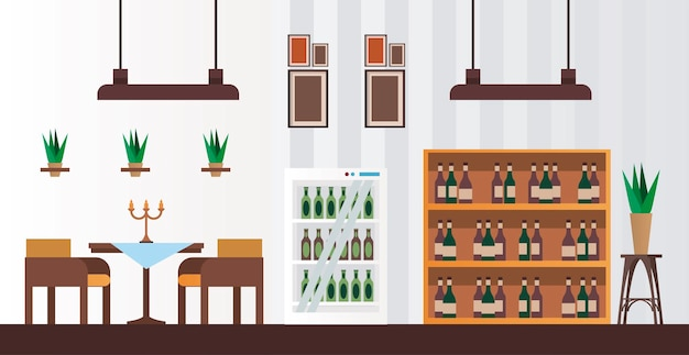 Elegant table and chairs with wine bottles in shelving restaurant forniture scene