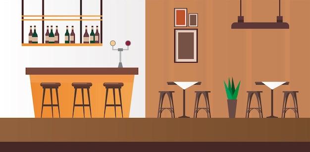Элегантные столы и стулья со сценой в баре-ресторане Premium векторы