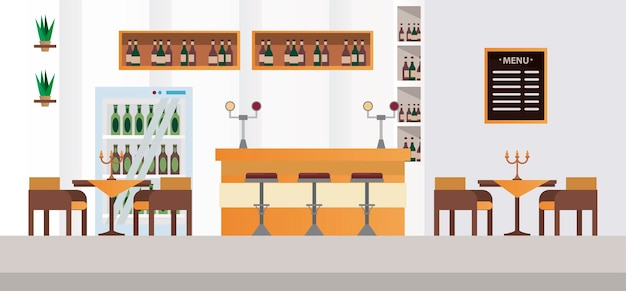 Elegant tables and chairs with bar restaurant