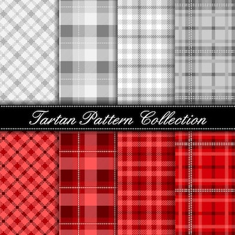 Elegant tartan pattern collection gray and red