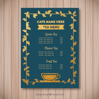 Elegant tea menu template with flat design