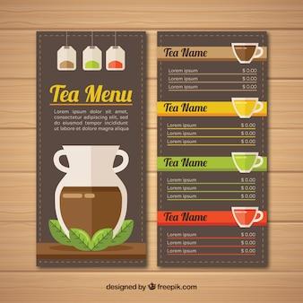 Elegant tea menu template with flat design