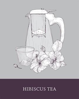 Элегантный чайник или стеклянный кувшин с ситечком, чашка чая и листья и цветы гибискуса, нарисованные от руки контурными линиями на сером