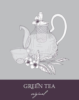 Elegant teapot with strainer, glass cup and original green tea leaves and flowers