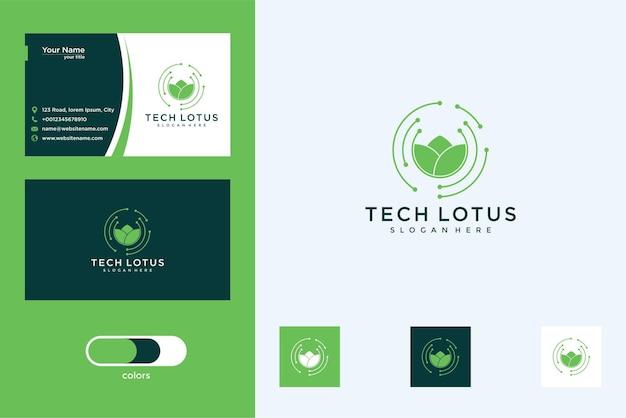 우아한 기술 연꽃 로고 디자인 및 명함