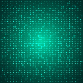 Elegant technical abstract  design poster with green many glowing round shapes or points