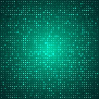 Poster di disegno astratto tecnico elegante con molte forme rotonde o punti luminosi verdi
